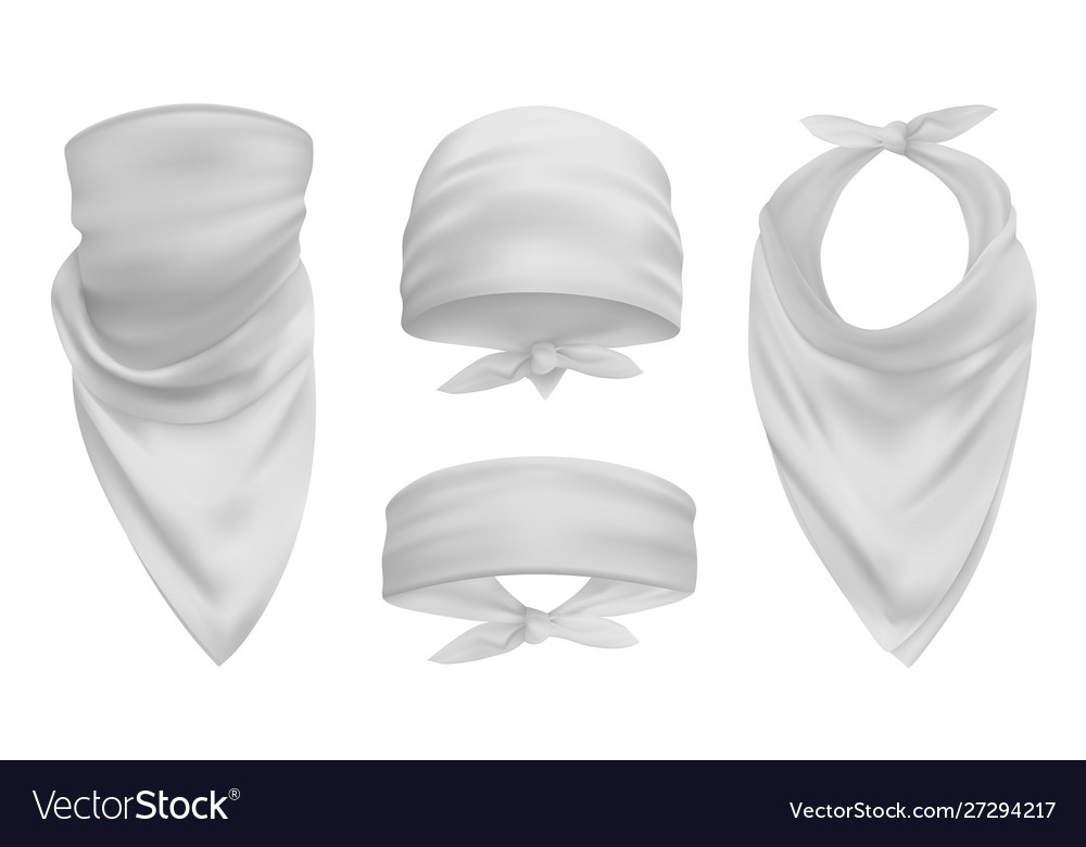White head bandana realistic 3d accessory