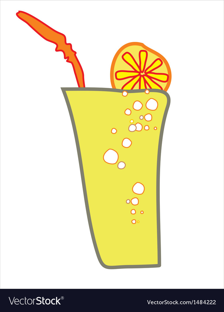A glass of a drink with lemon slice and a straw