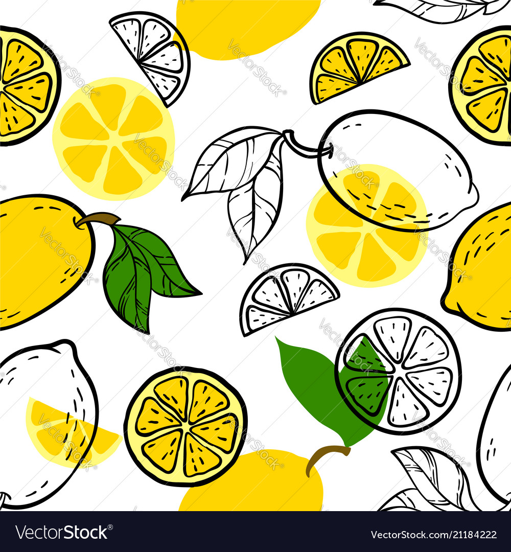 Beautiful yellow black and white seamless doodle