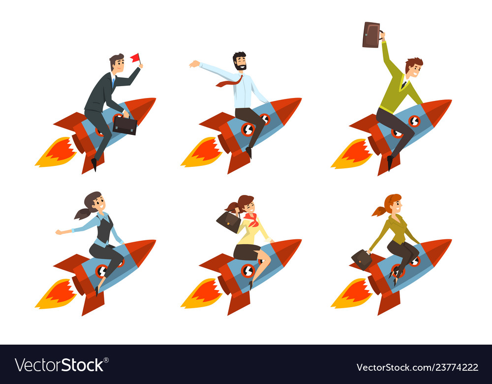 Business men and women flying on rockets