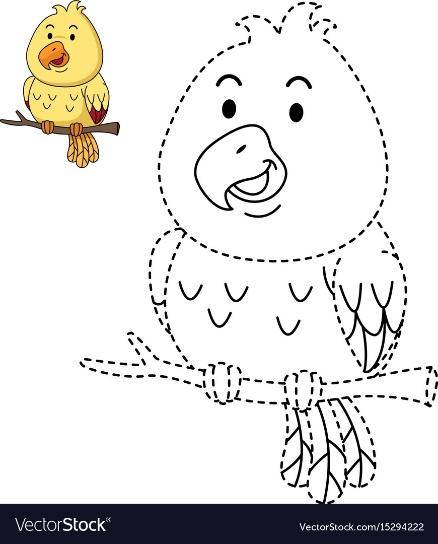 - Educational Game For Kids And Coloring Book-bird Vector Image