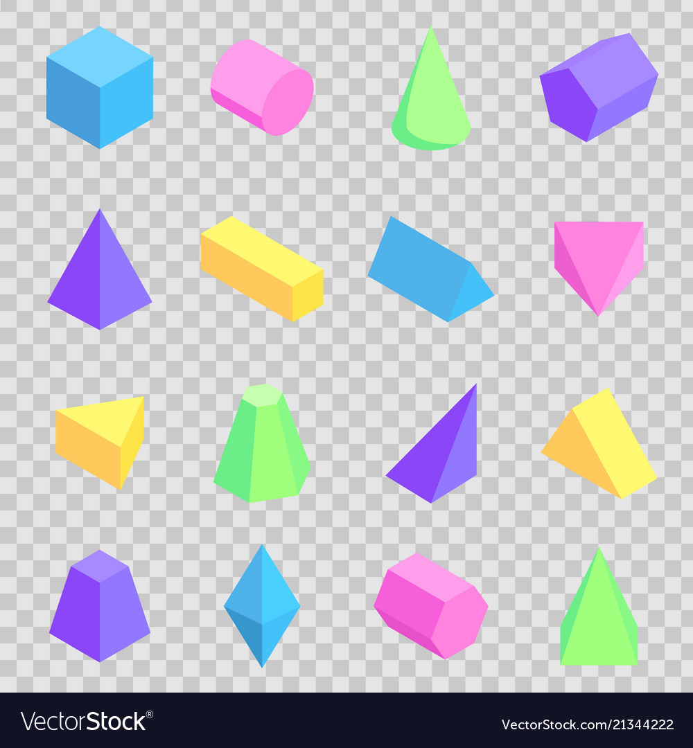 Geometric 3d prisms collection colorful figures