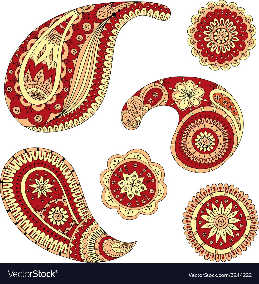 Henna Paisley Mehndi Design Element