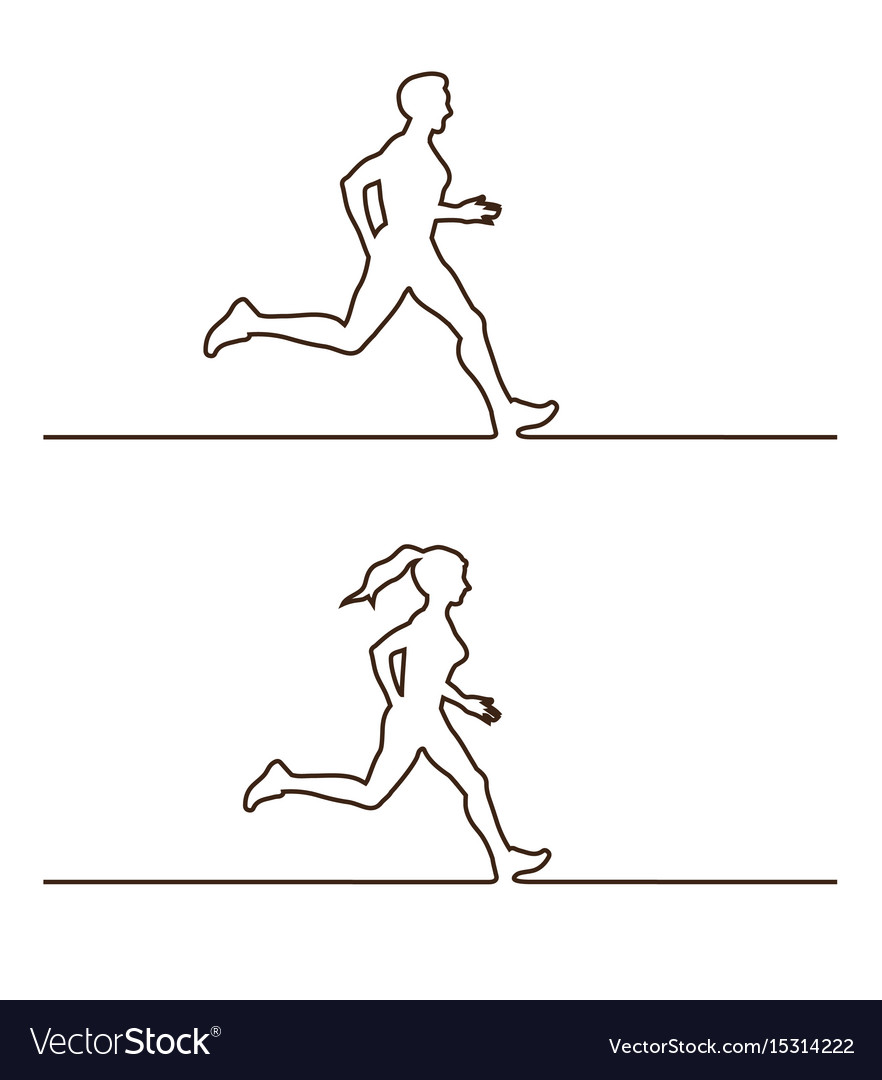 Line silhouettes of runners