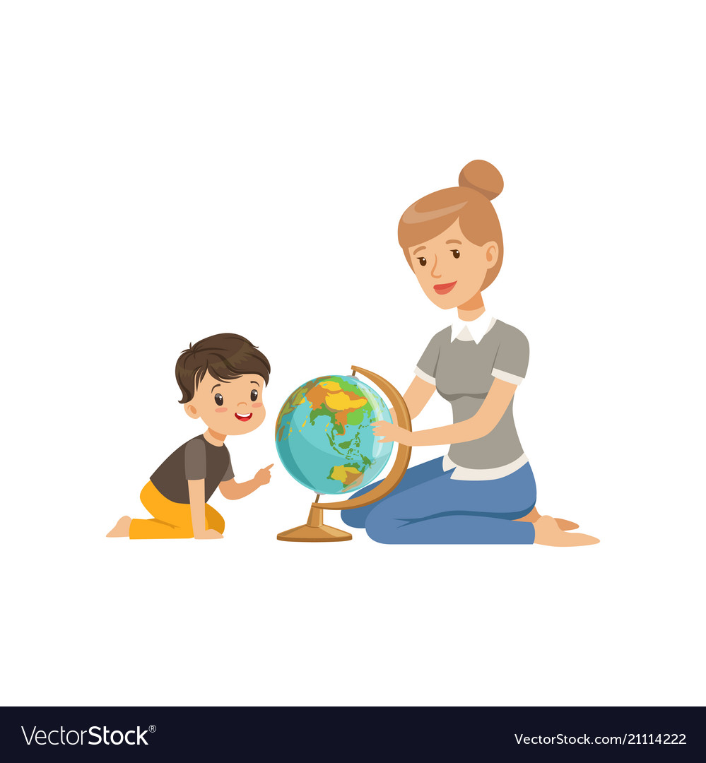 Little boy studying geography with his teacher