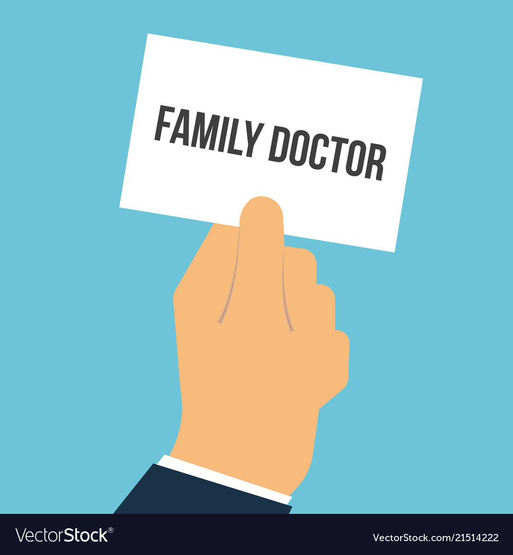 Man showing paper family doctor text