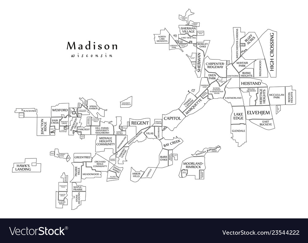 Modern city map - madison wisconsin city of the Vector Image on