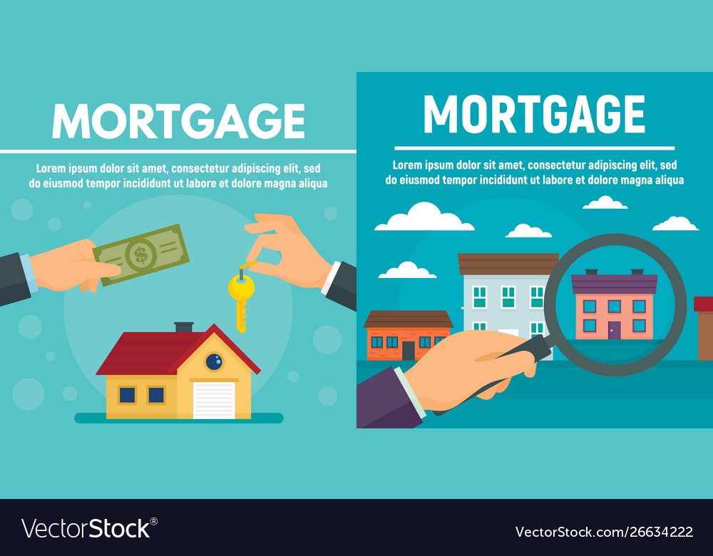 Mortgage Banner Set Flat Style Royalty Free Vector Image