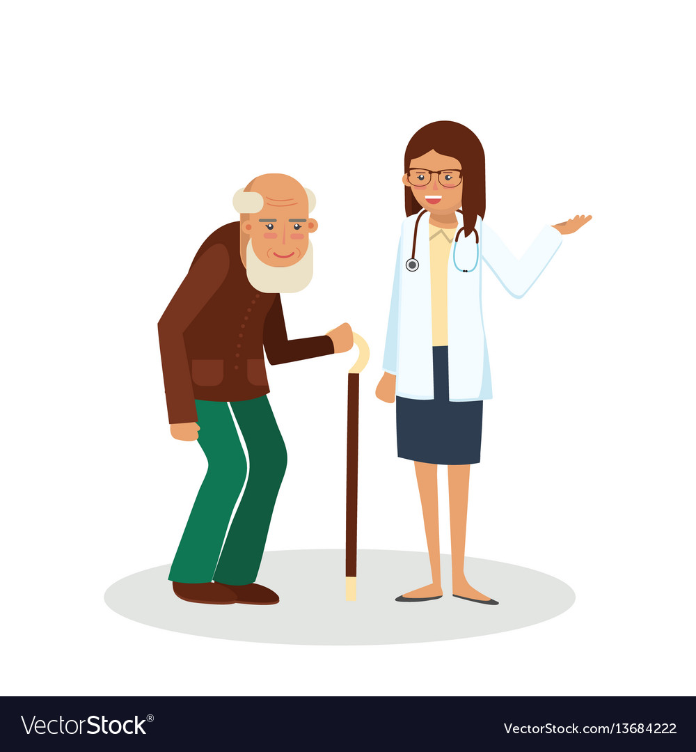 Pensioner with doctor