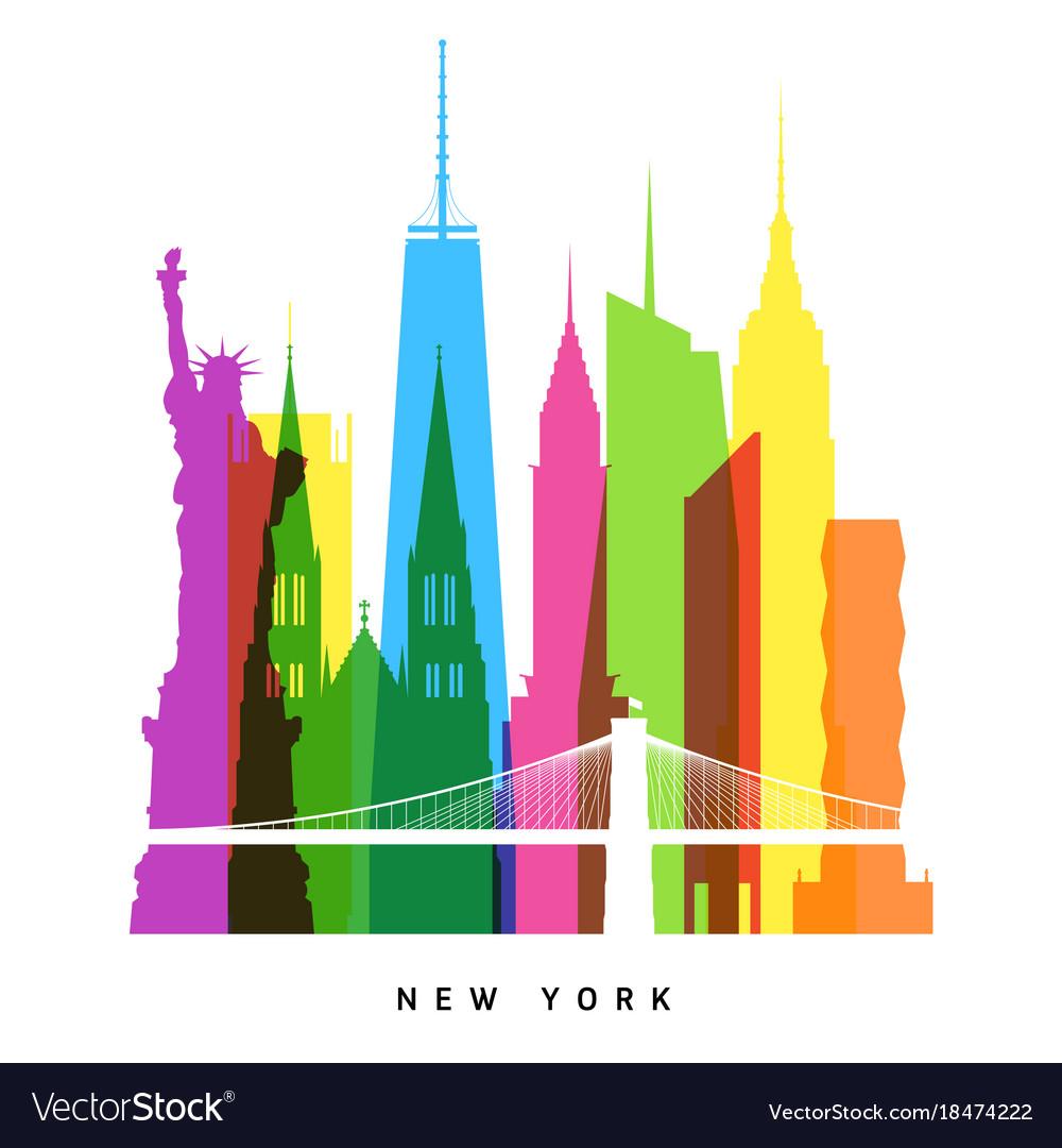 Rnew york landmarks bright collage