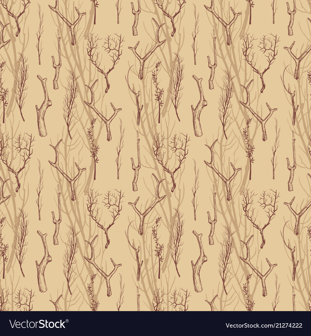 Rustic wood branches seamless pattern hand drawn