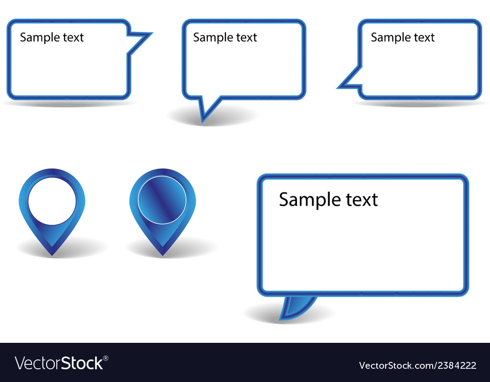 Set of blue pointers on white background with