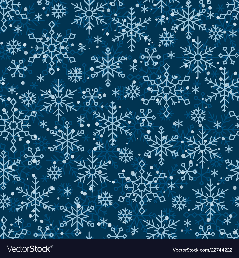 Snow flake line seamless pattern winter background