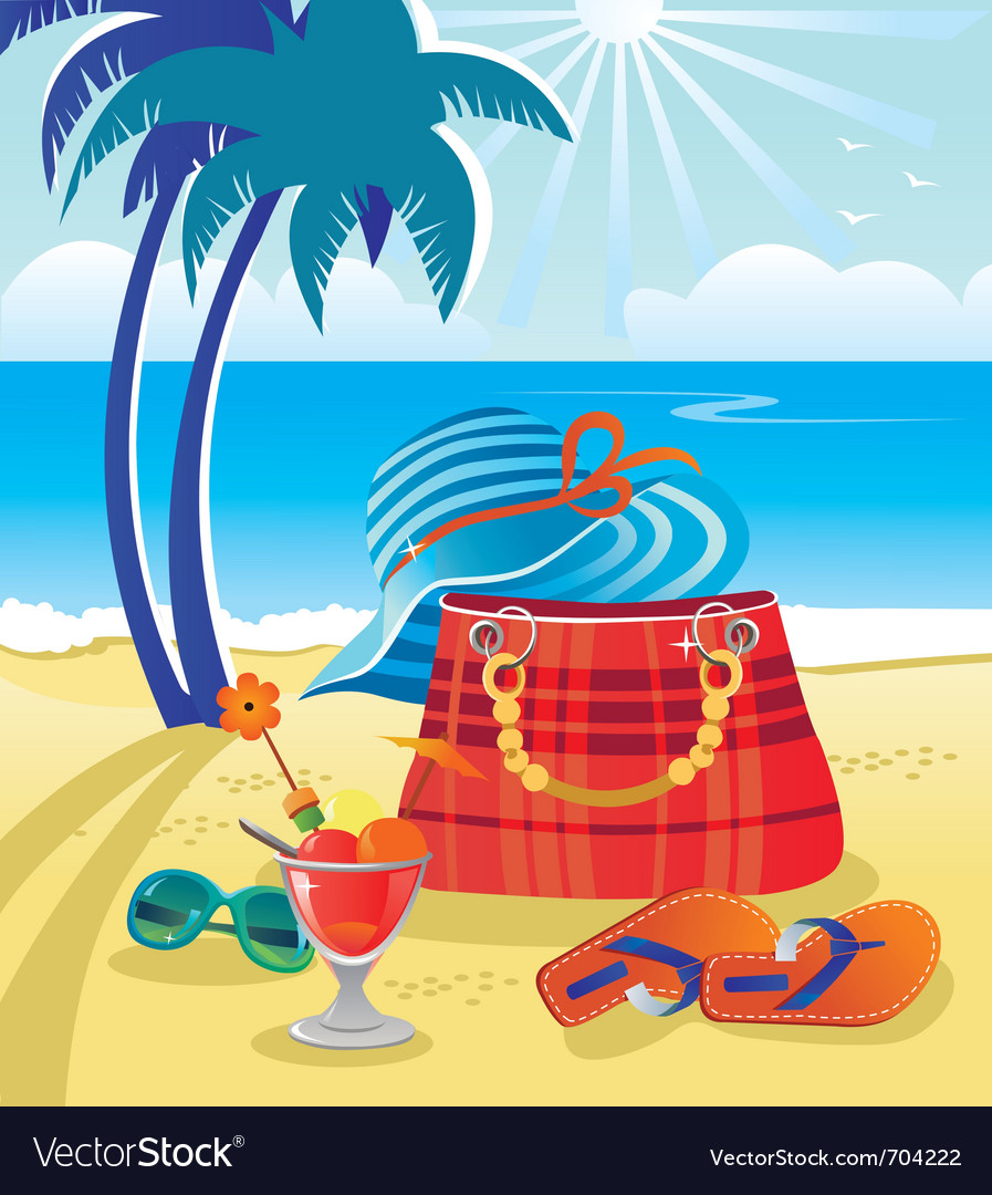 Summer objects on beach vector image