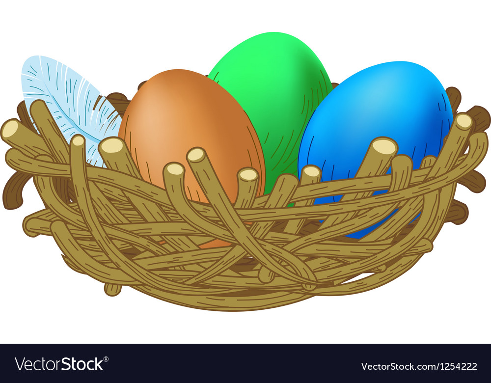 Three colored eggs lie in a nest easter