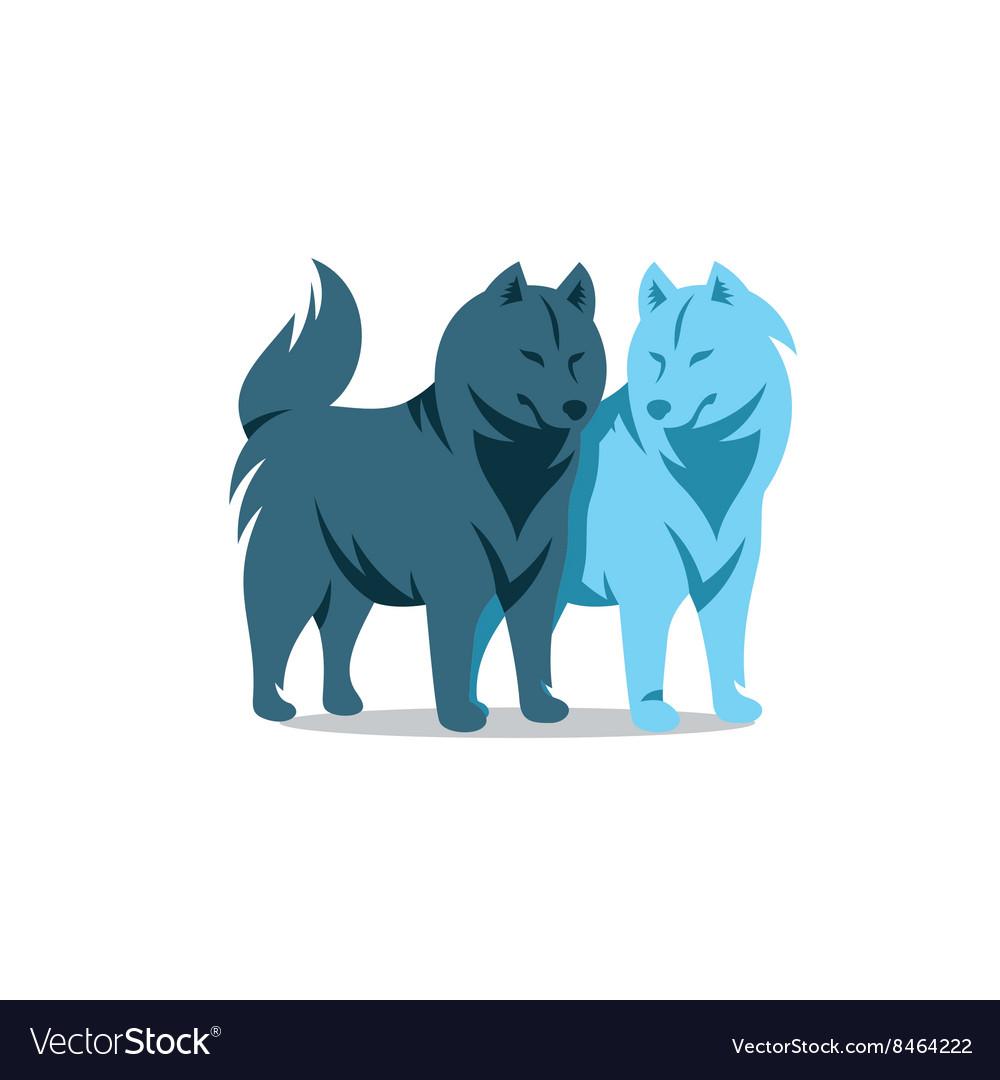Two Husky Dog Cartoon