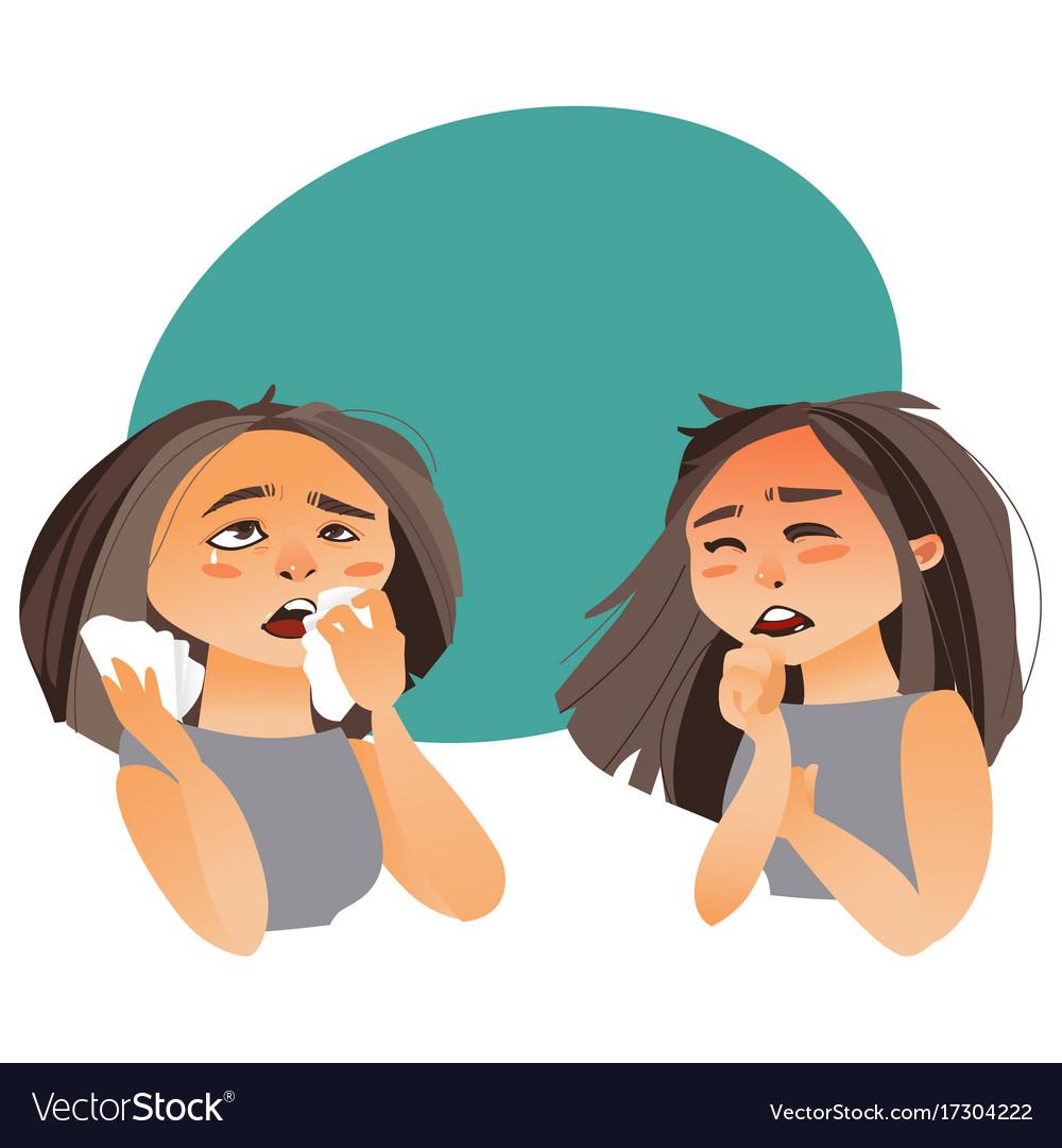 woman having flu symptoms runny nose cough vector image