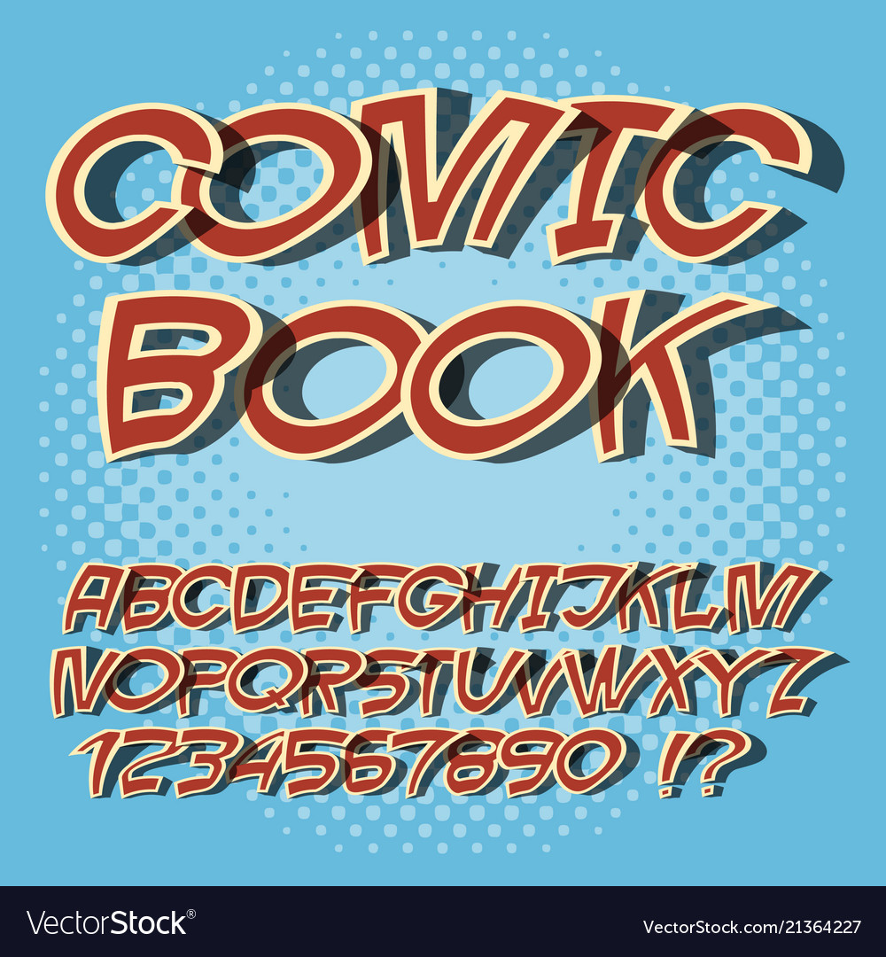 Alphabet comics style and pop art comic book font