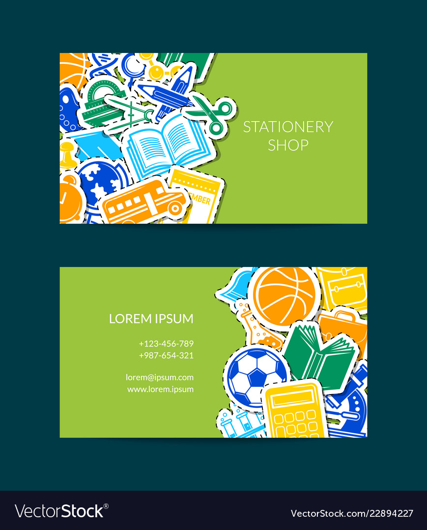 Back to school stationery business card