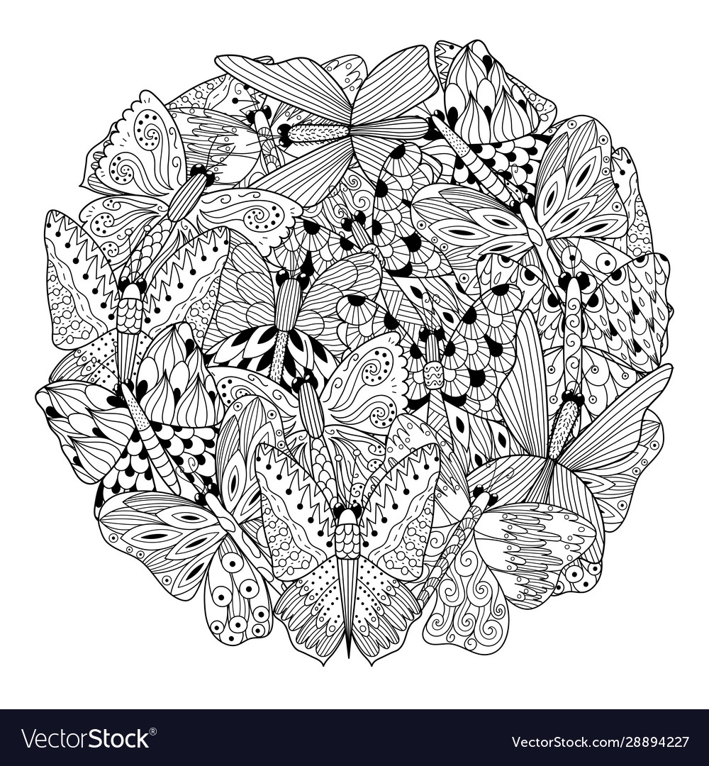 Butterflies circle shape coloring page coloring