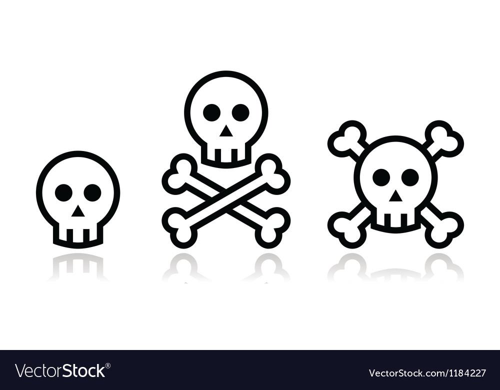 Cartoon skull with bones icon set
