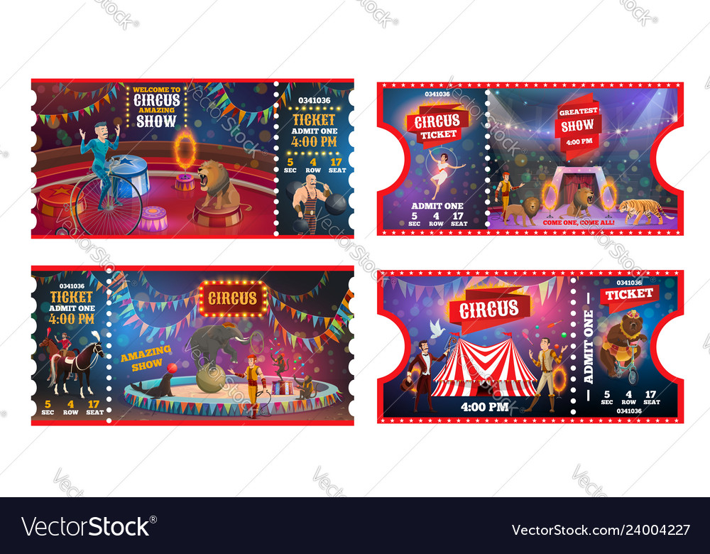 Circus tickets with acrobats animals and magician