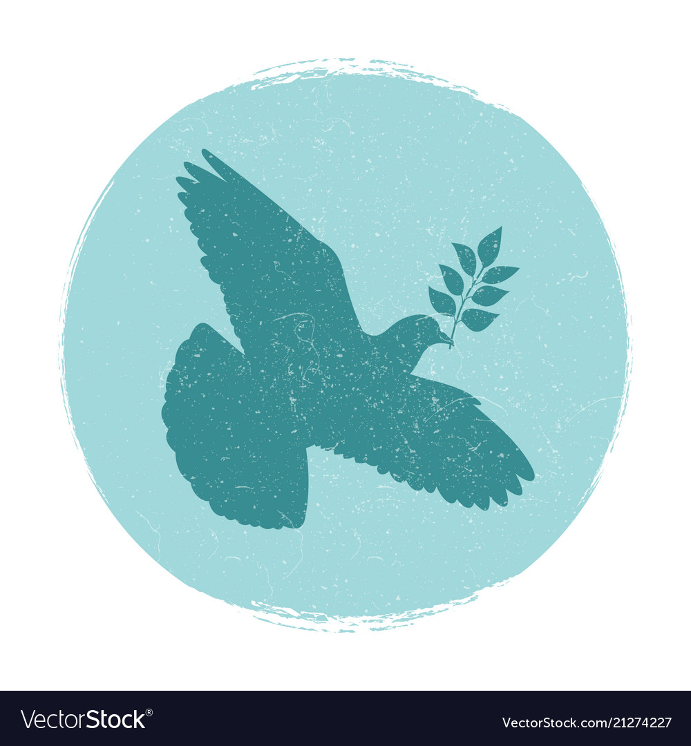 Dove of peace logo design pigeon silhouette with
