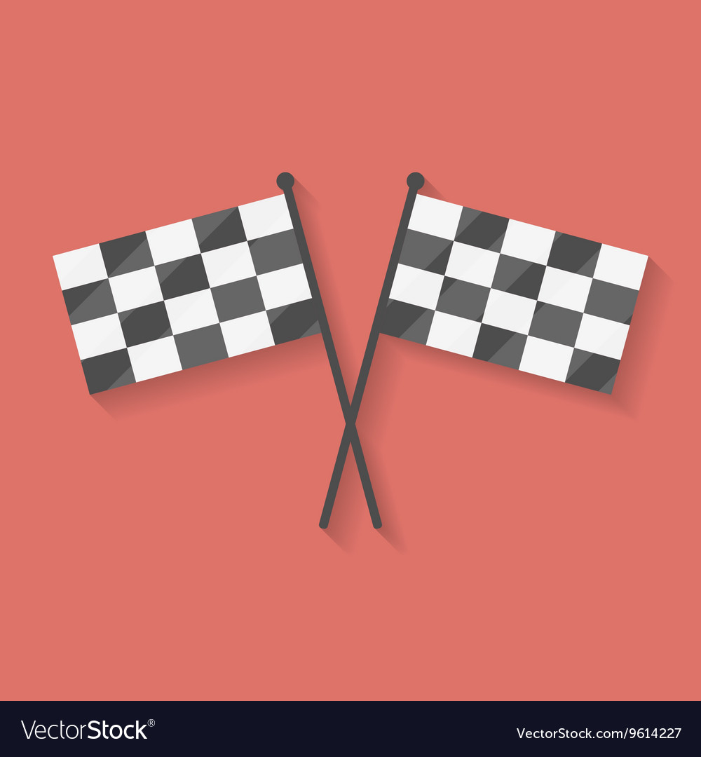 Flat icon of two crossed racing competition or