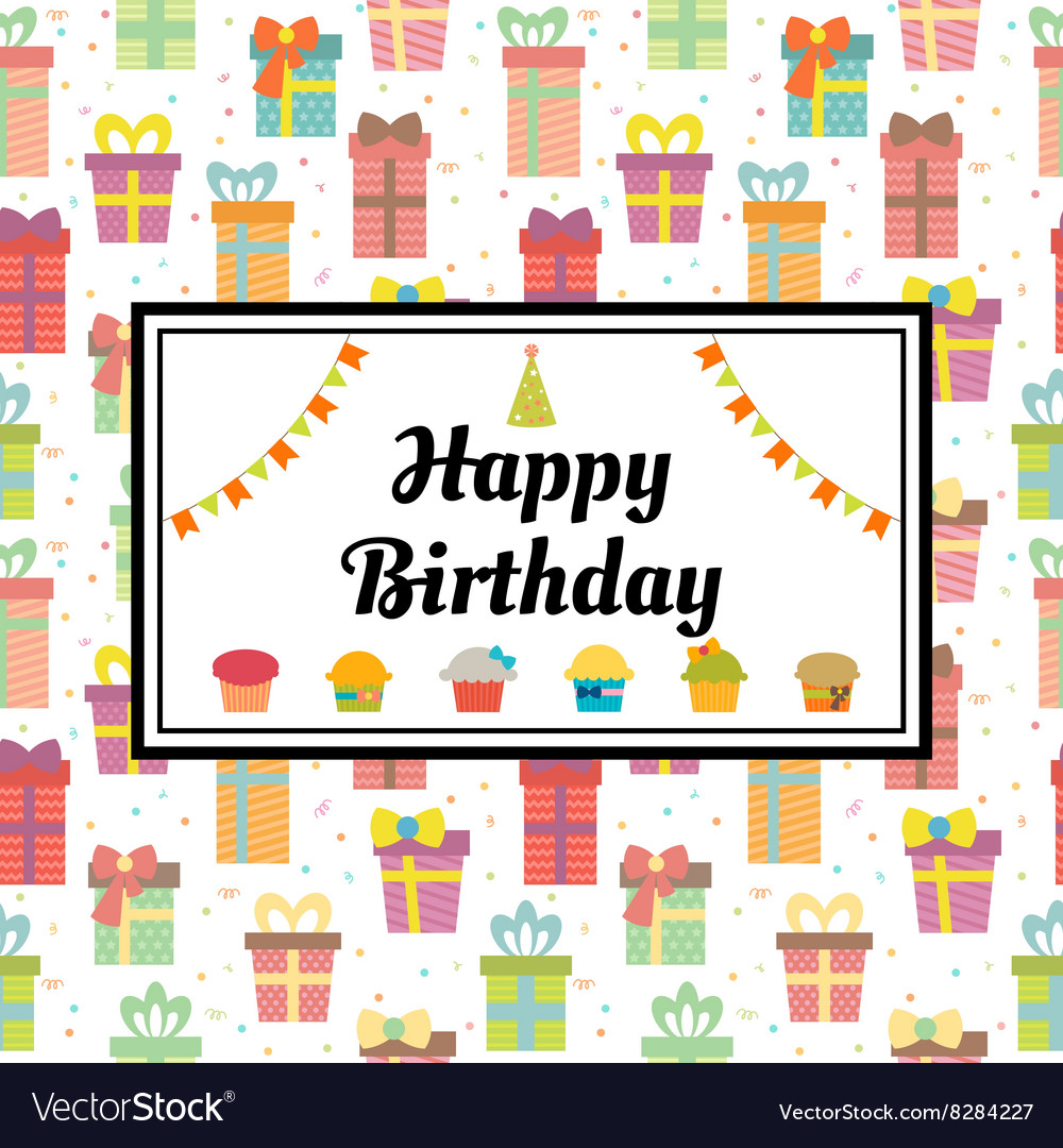 Happy Birthday Greeting Card With Gift Boxes And