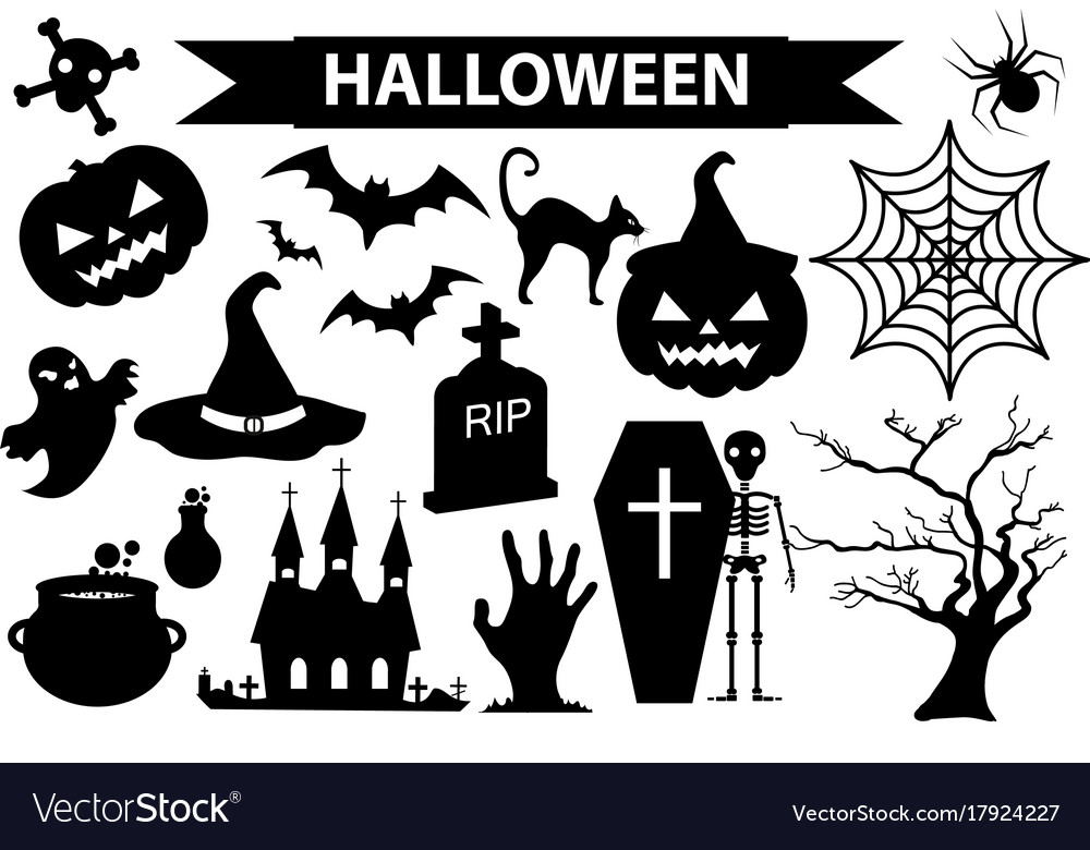 Happy halloween icons set black silhouette style