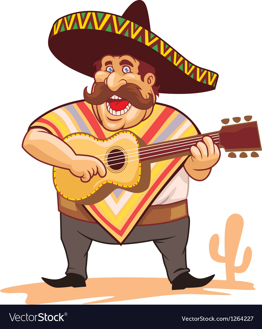 Mexican with sombrero and guitar