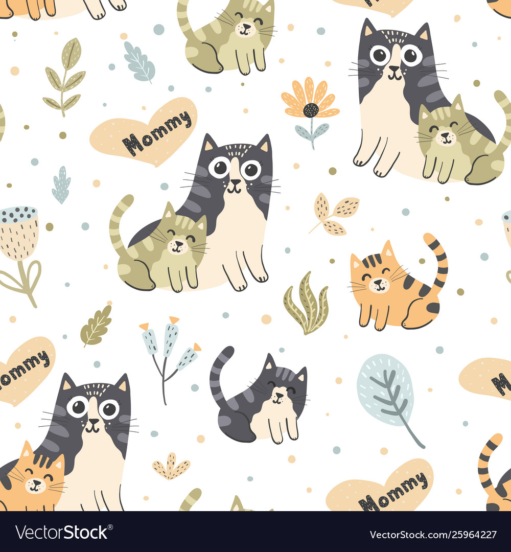Mother cat with kitten seamless pattern