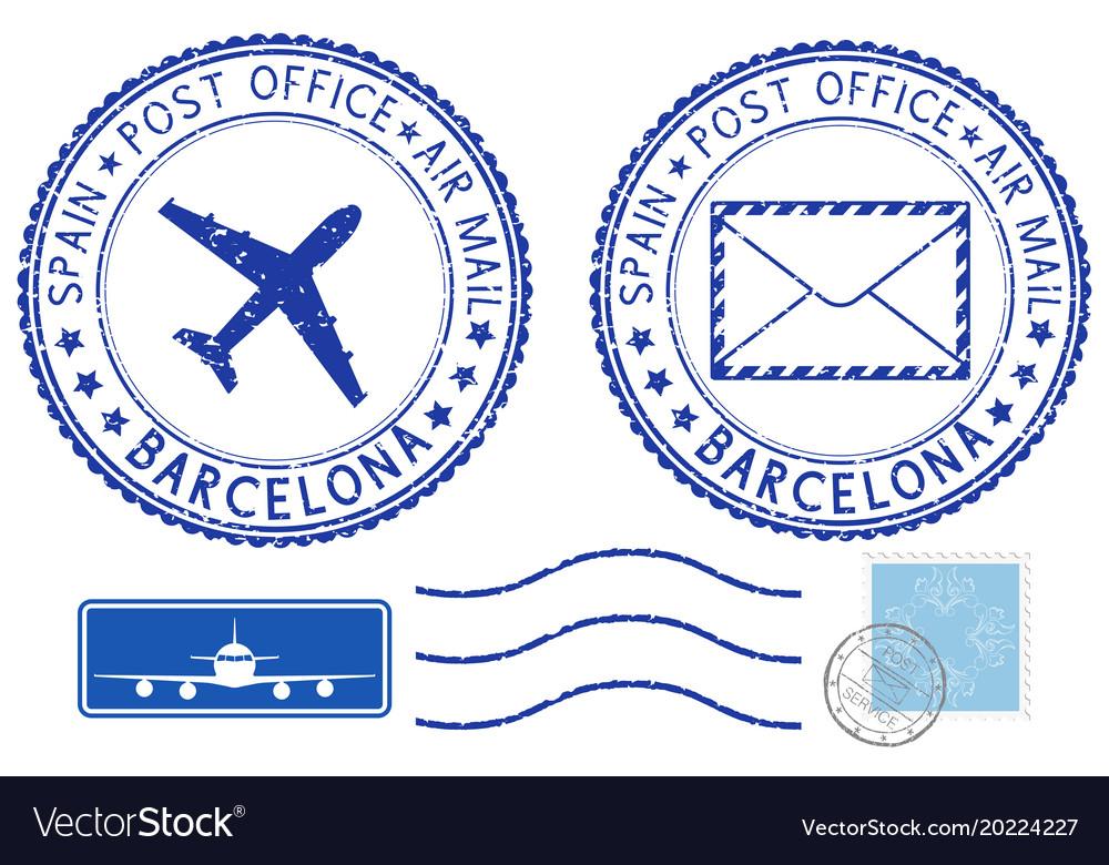 postmarks barcelona spain blue air mail symbols vector image