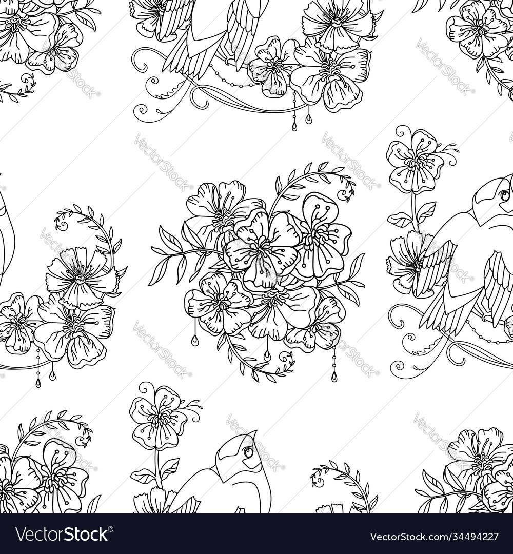 Seamless pattern cute bird and flowers