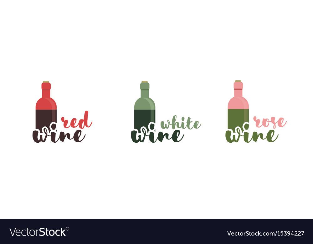 Wine text typography calligraphic text vector image