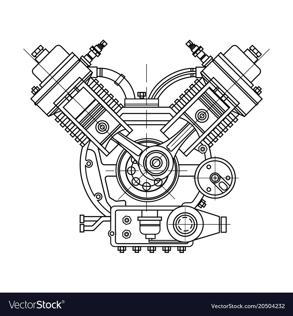 An internal combustion motor the drawing engine Vector Image