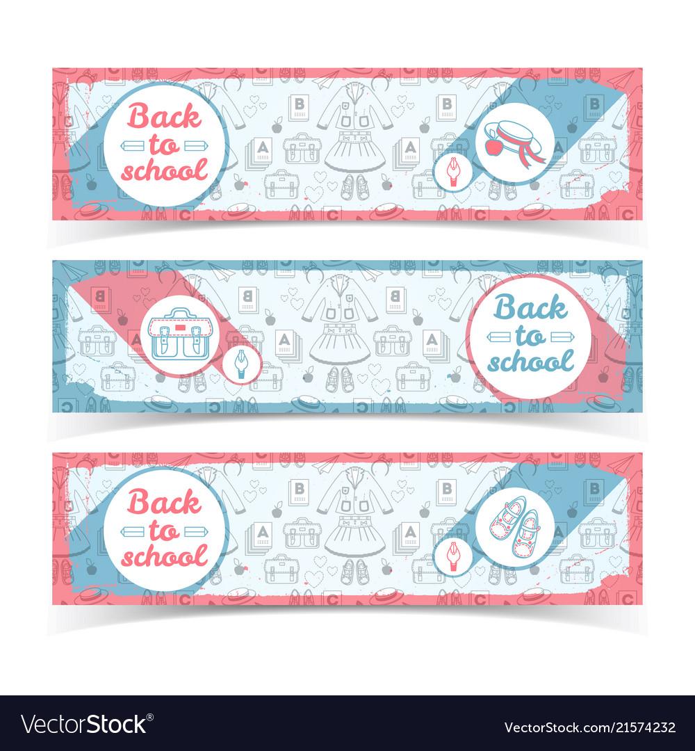 Back to school light horizontal banners