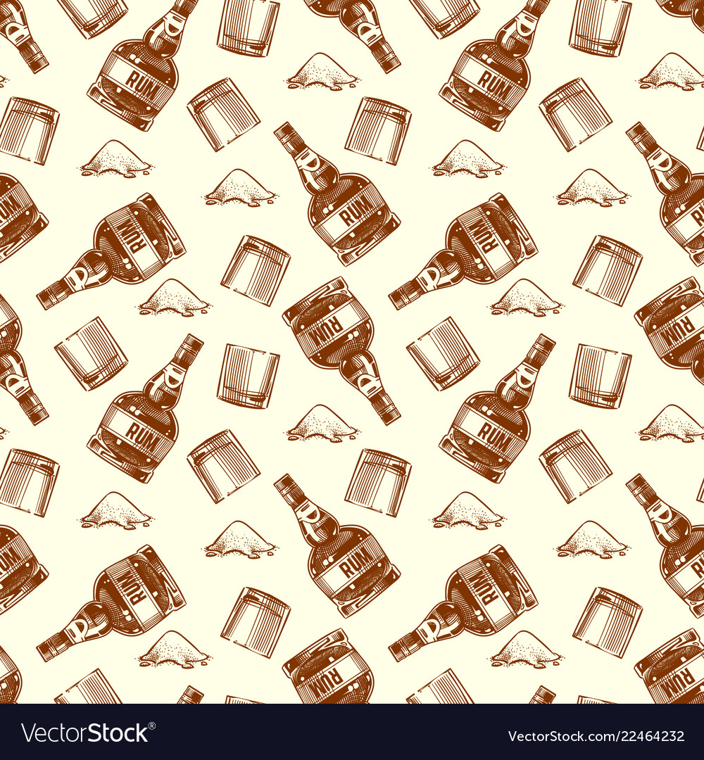 Bottle of rum and cocaine seamless pattern