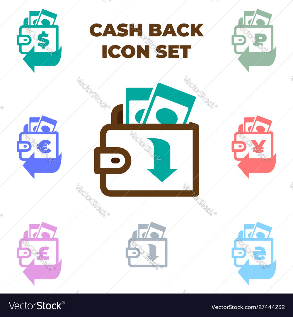 Brown wallet with paper money icon isolated