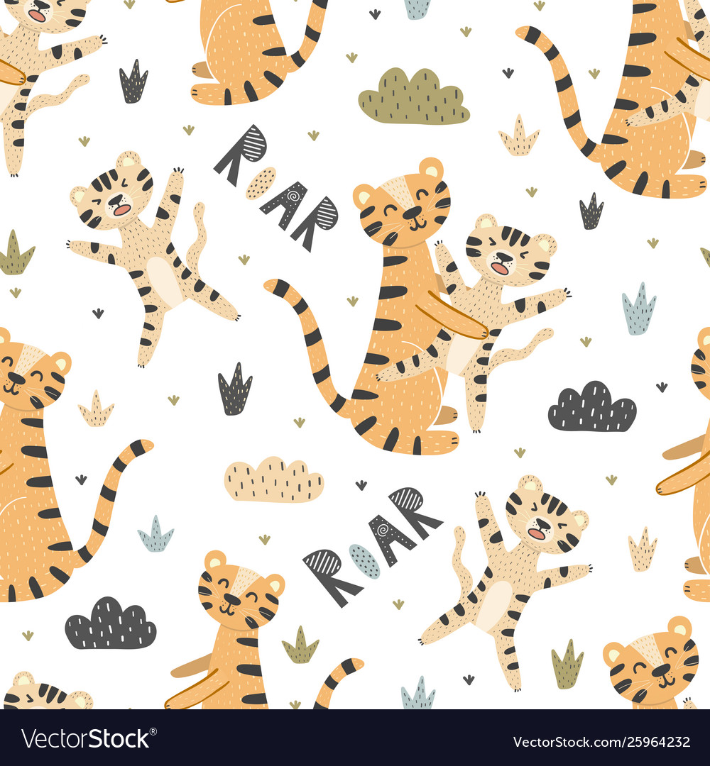 Cute tigers mother and baseamless pattern