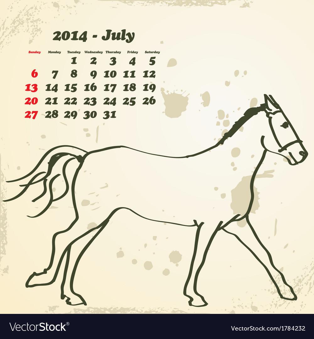 July 2014 hand drawn horse calendar