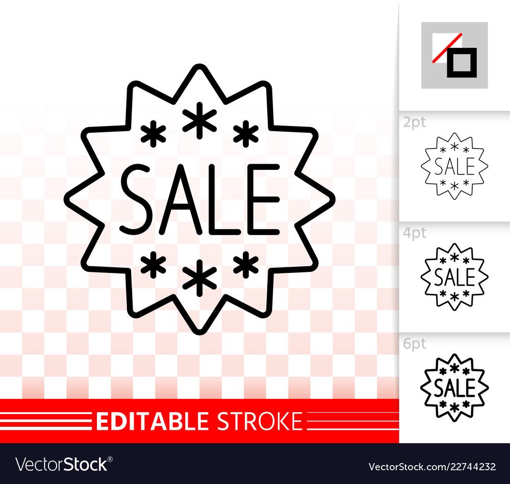 Sale banner simple black line ad tag icon