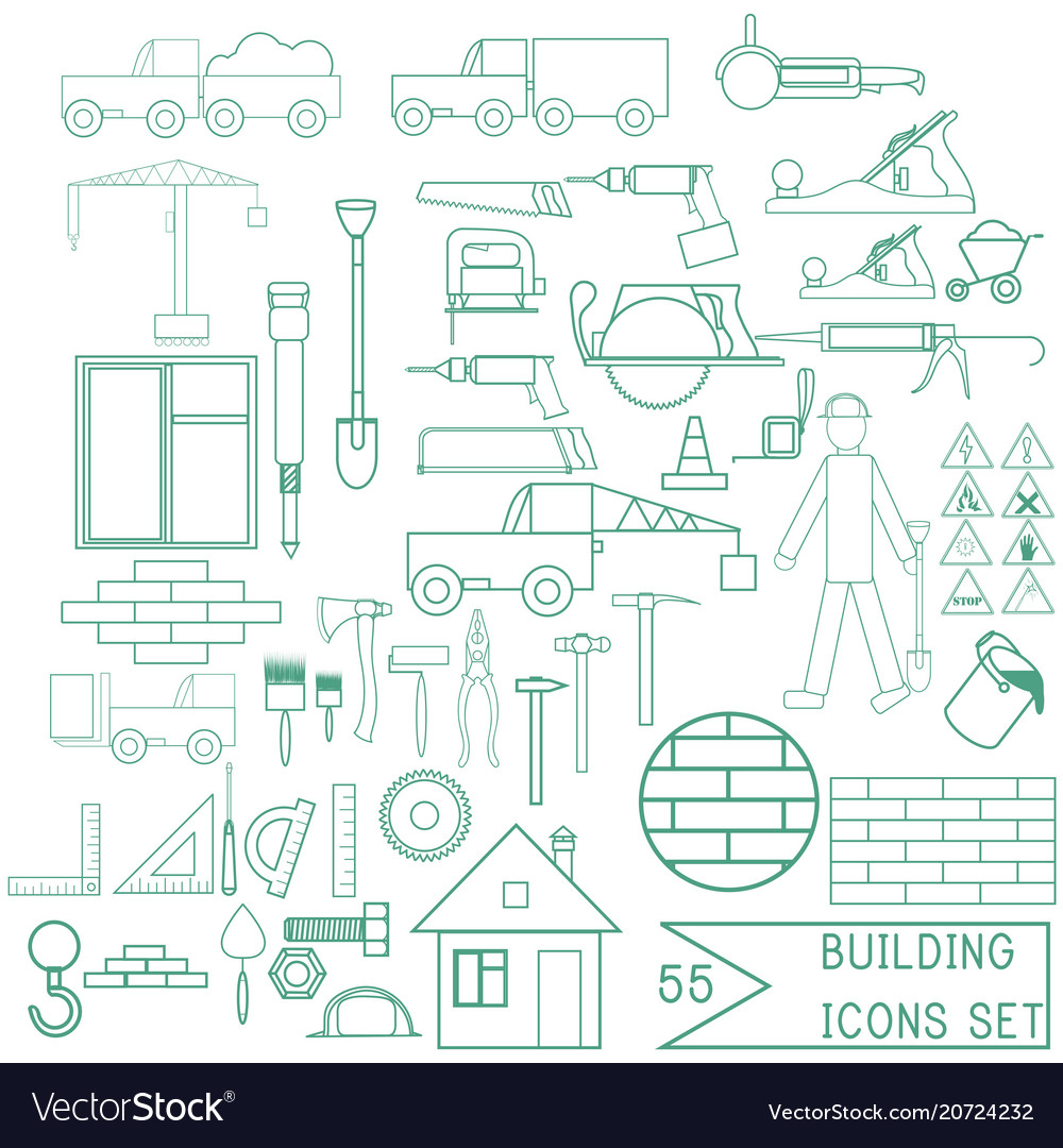 Set of repair and building icons for design