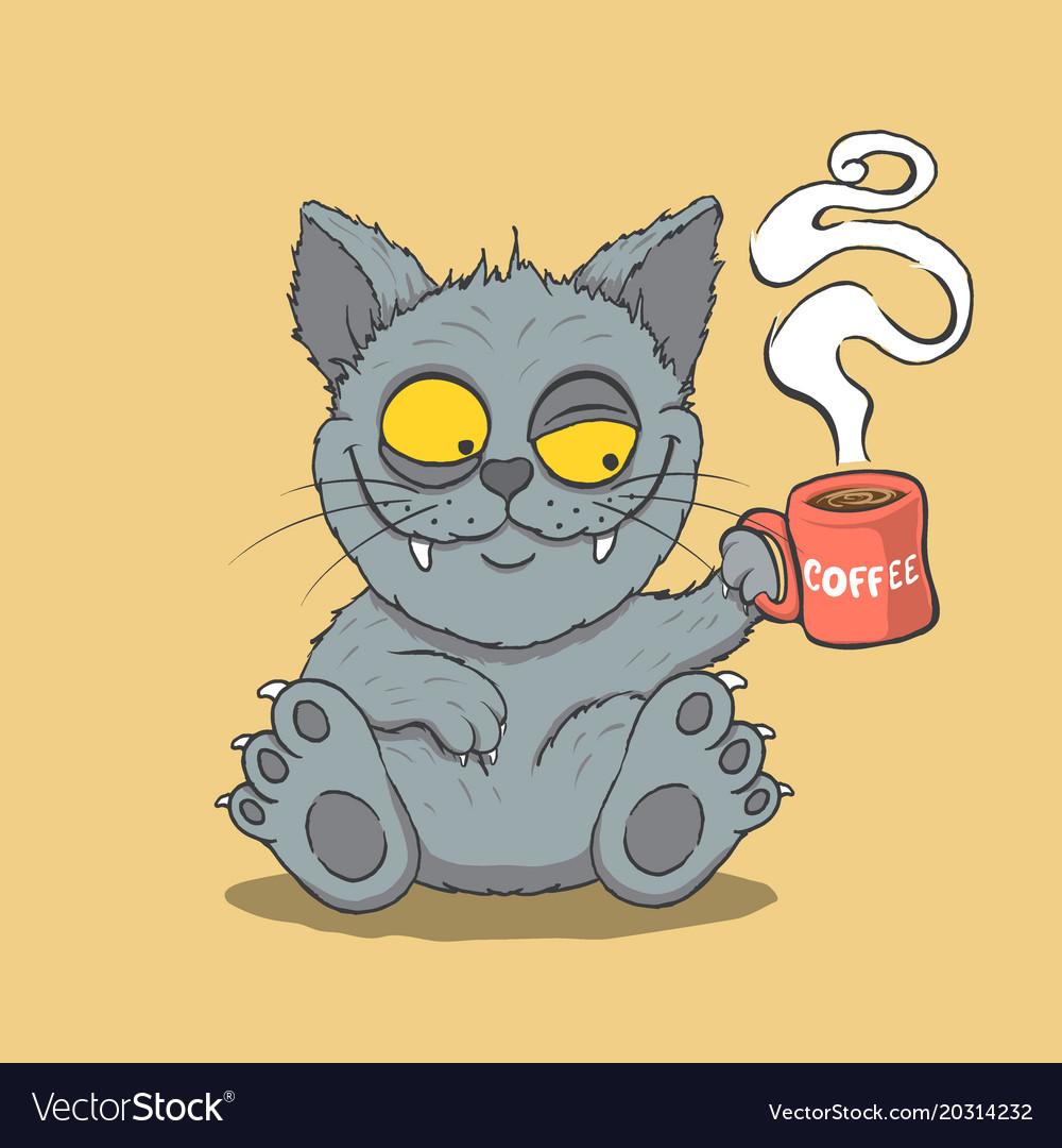 Sleepy cat drinks coffee in the morning