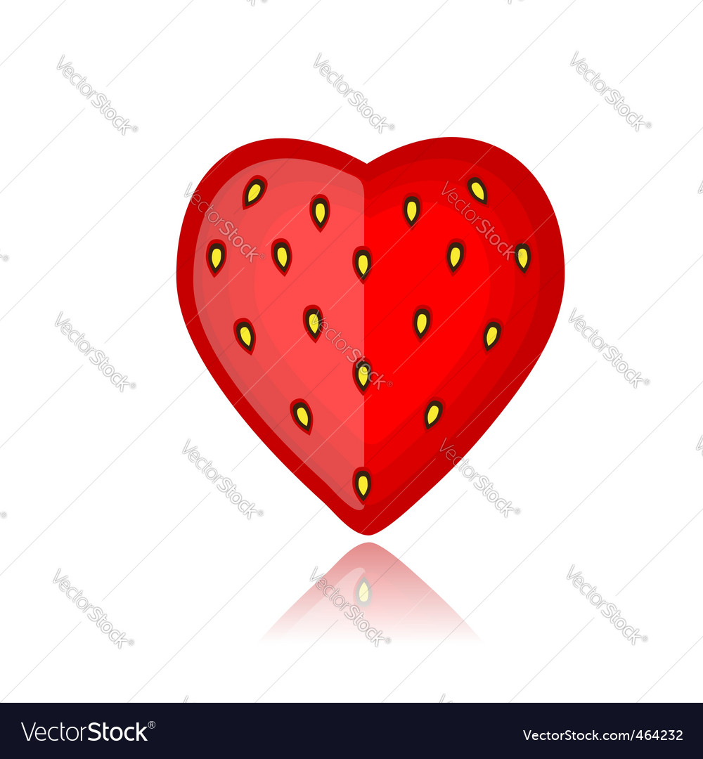 Strawberry heart shape vector image