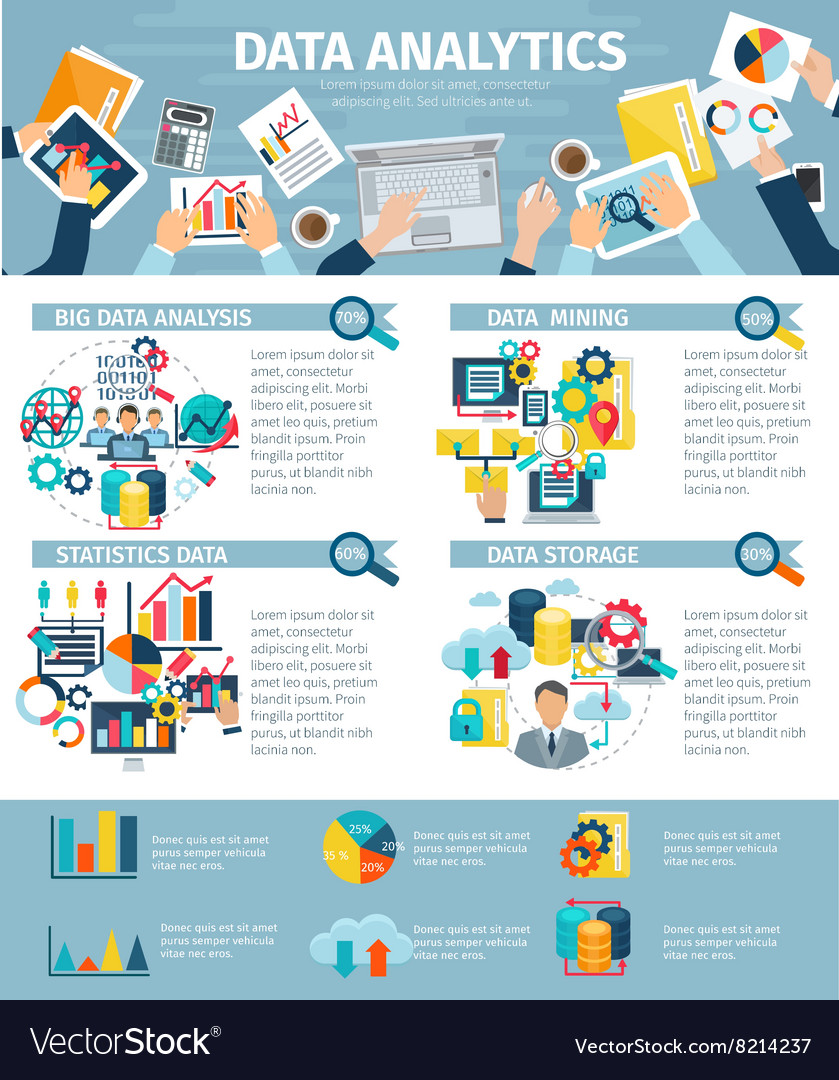 data analytics infographic elements flat poster vector image