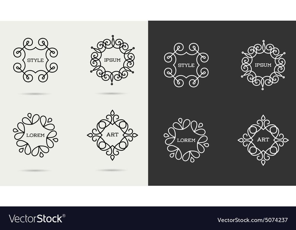 Elegant art line monogram logo design