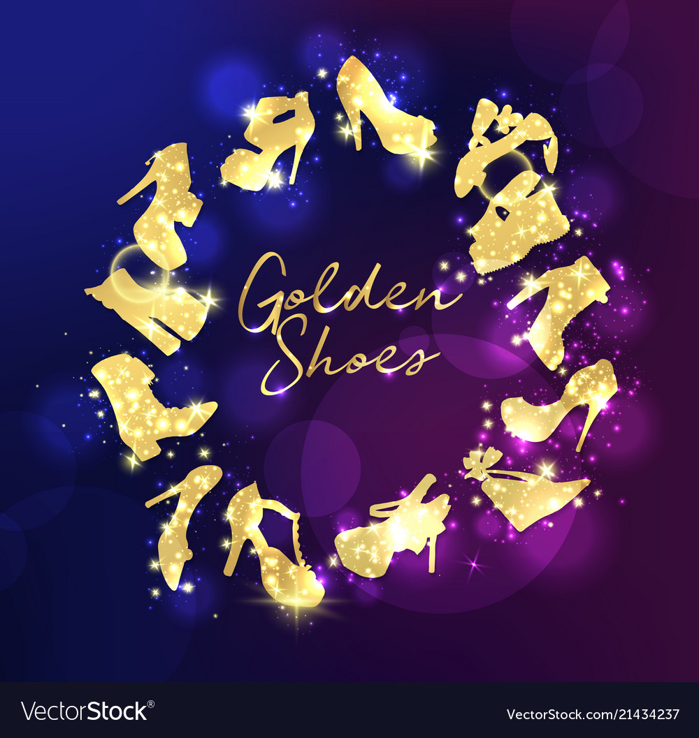 Golden shoes collection symbols with silhouettes