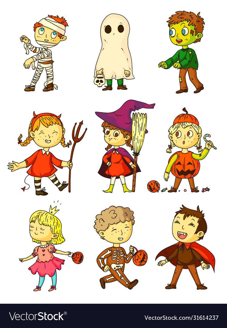 Halloween kids funny kids in creepy costumes set