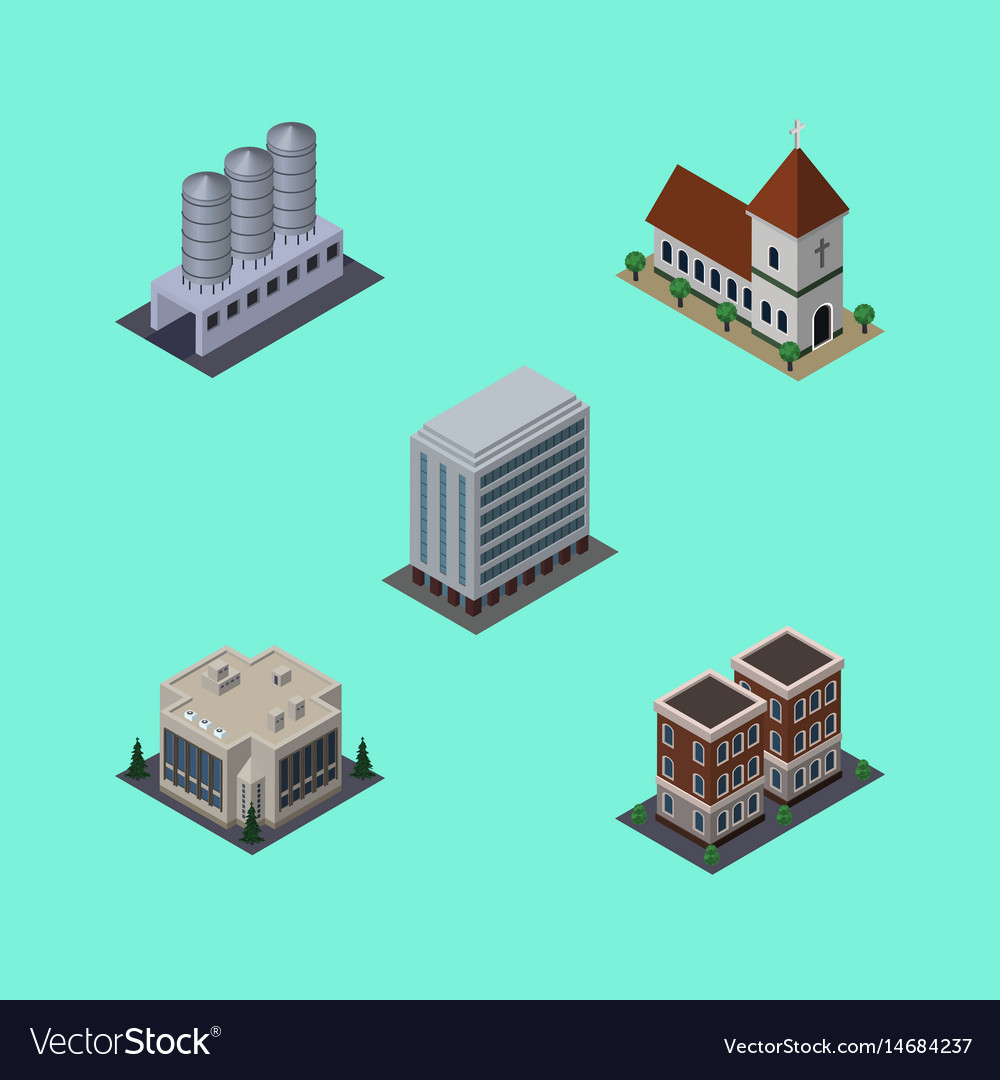 Isometric architecture set of office company